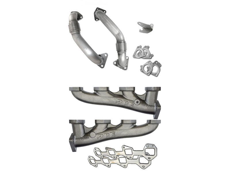 PPE RACE EXHAUST MANIFOLDS WITH ROUND UP-PIPES FOR TWIN TURBO 116111100 2001-2016 GM DURAMAX 6.6L