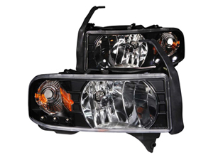 AZ111205 ANZO CRYSTAL BLACK HEADLIGHT ASSEMBLY 111205 1994-2002 DODGE RAM*Small