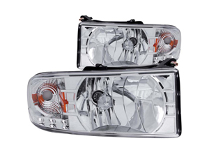 AZ111206 ANZO CRYSTAL/CHROME HEADLIGHT ASSEMBLY 111206 1994-2002 DODGE RAM*Small