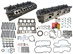 Remanufactured Cylinder Heads with Gasket Install Kit, OEM Head Bolts, 2008-2010 Ford 6.4L Powerstroke Thumbnail
