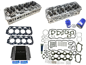 Remanufactured Cylinder Heads with Gasket Install Kit, ARP Studs, 2001-2004 GM 6.6L Duramax LB7 Thumbnail