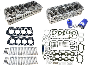 Remanufactured Cylinder Heads with Gasket Install Kit, OEM Head Bolts, 2001-2004 GM 6.6L Duramax LB7 Thumbnail